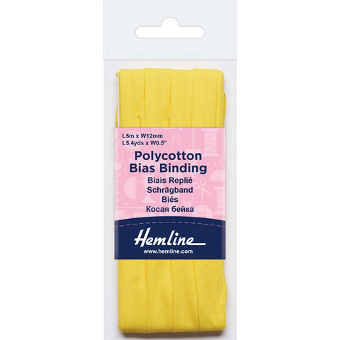 Hemline  Polycotton Bias Binding - Lemon 12MM X 5M