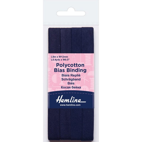Hemline  Polycotton Bias Binding - Navy 12MM X 5M