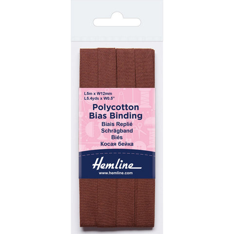 Hemline  Polycotton Bias Binding - Brown 12MM X 5M