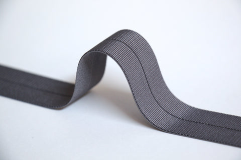 24mm Stretch Fold-Over Binding - Mid Grey