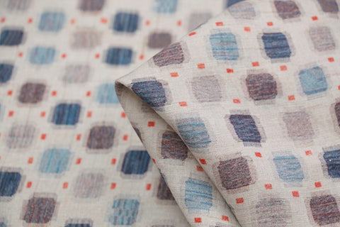 Boxed Colour Washed Printed Linen