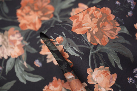 Decadent Bloom Black - Liberty Tana Lawn