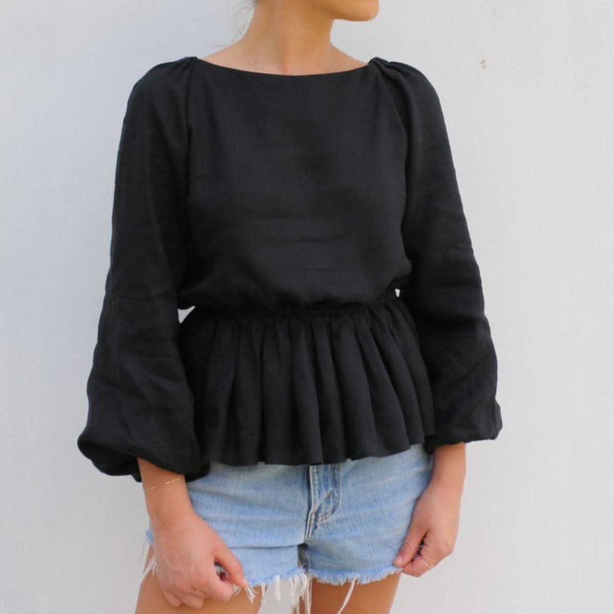 Black bell sleeve topBell sleeve blouseTessuti Collection