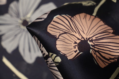 Anemone Garden Navy - Liberty Silk Satin