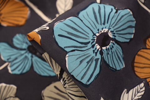 Anemone Garden Charcoal - Liberty Crepe De Chine