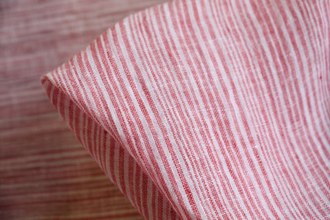 Red Stripe Washed Linen Gauze