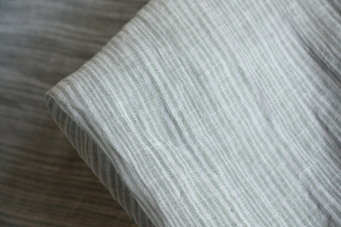 Jade Stripe Washed Linen Gauze