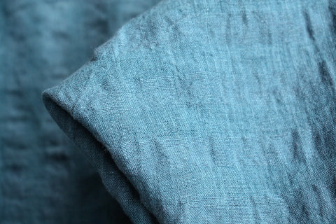 Self Check Teal Washed Linen