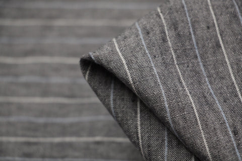 Bale Grey Stripe Vintage Washed Linen