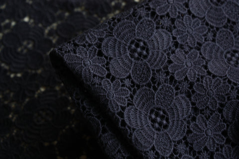 Navy Field Guipure Lace