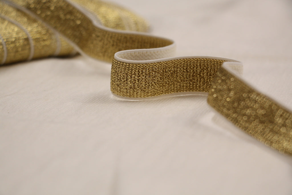 Metallic Fancy Elastic 20mm 3 4 Gold Elastic Tessuti