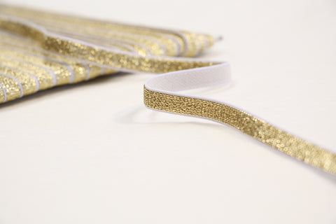 "10mm/ 3/8"" - Metallic Fancy Elastic - Gold"