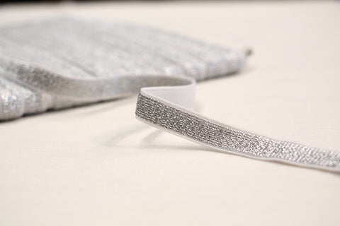 "10mm/ 3/8"" - Metallic Fancy Elastic - Silver"