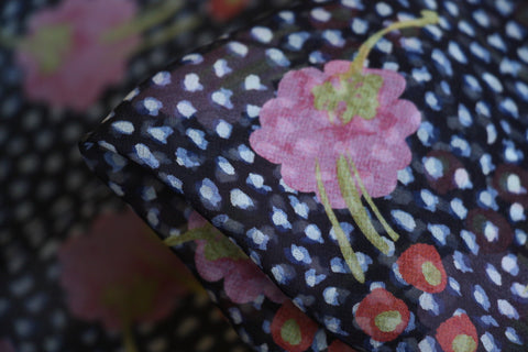 Green Black Pink Multi Floral Stretch Polyester Velvet Fabric Yellow
