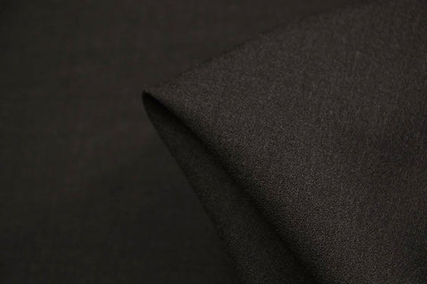 Dark Charcoal Empire Wool Crepe