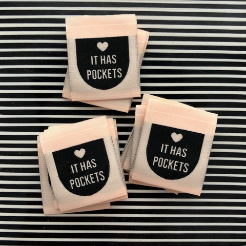 """It Has Pockets"" - Woven Sewing Labels 8 Pack"