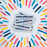 "Sewing Labels: ""Made With Love + Swear Words"" - Woven Sewing Labels 8 Pack"