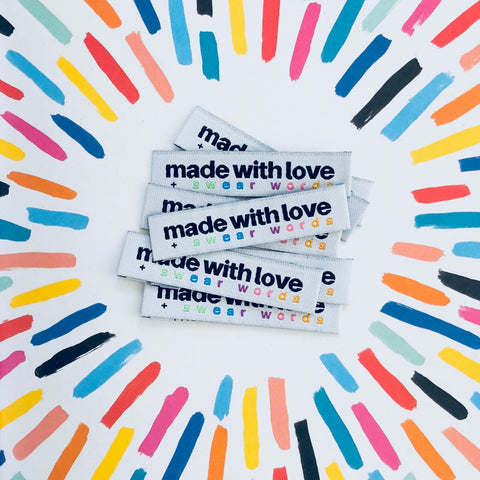 """Made With Love + Swear Words"" - Woven Sewing Labels 8 Pack"