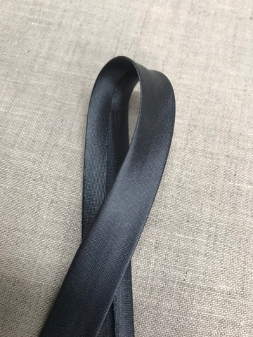 Charcoal 15mm Satin Bias Binding
