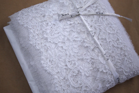 Reina Corded Lace Trim - White