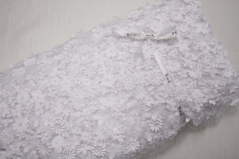 Cut-out Floral Tulle - White
