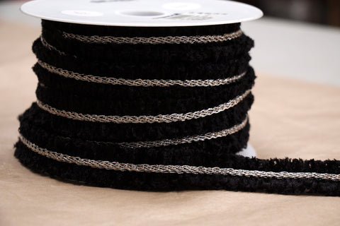 Black/Silver Chain Braid Trim