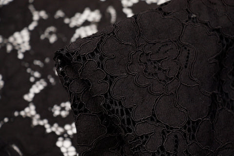 Black Flower Lace Fabric 112cm wide sold by the metre