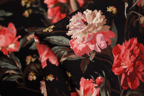 Reddish Decadent Blooms  - Liberty Silk