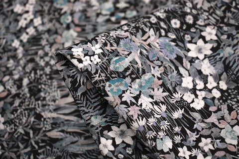 Grey Faria Flowers - Fleece - Liberty Fabric