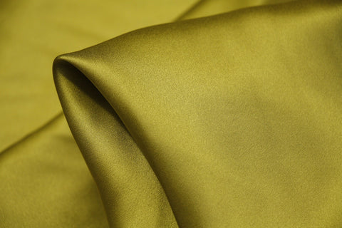 Warm Olive Silk Satin