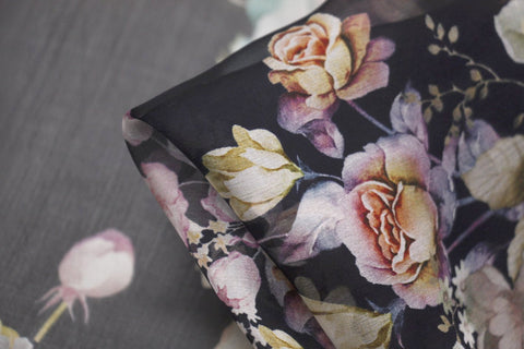 Midnight Blooms - Silk Chiffon