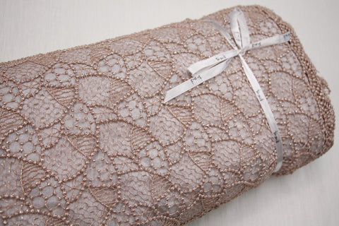 Copper Brown Spot Guipure Lace