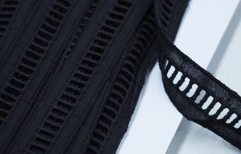 Black Cotton Eyelet Trim