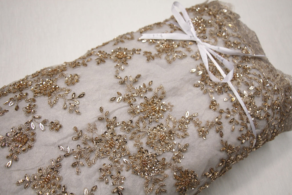 4156fb40f0 Gold Embroidered Beaded Tulle - Lace - Tessuti Fabrics - Online ...