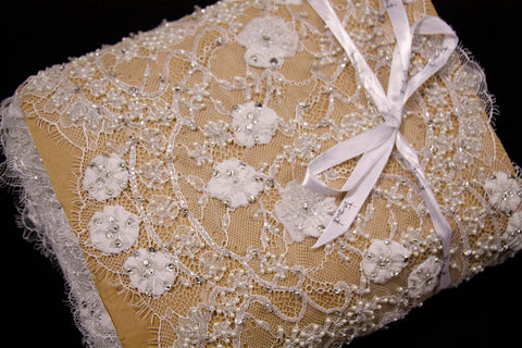 Binoche Beaded Ivory Lace Trim
