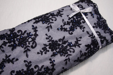 Nicola Embroidered Tulle - Navy