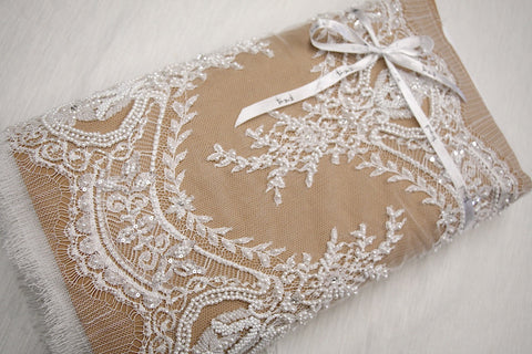 Valentina Beaded Lace Trim - Natural