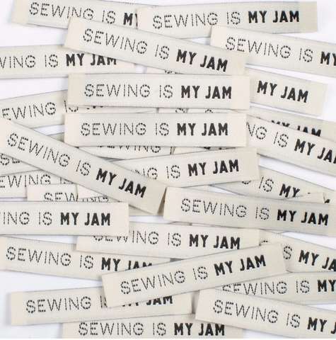 """SEWING IS MY JAM"" - woven sewing labels 8 Pack"