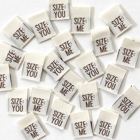 """SIZE ME/SIZE YOU"" - woven sewing labels 8 Pack"