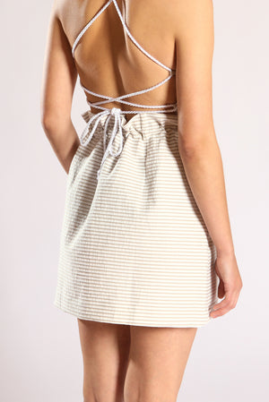Scrunchy skirt - White & beige stripes