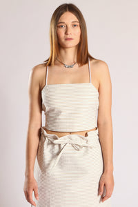 Linda top - White & beige stripes