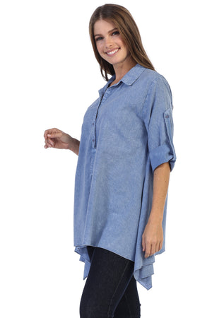 Shark Bite Hem Pre-Washed Shirt Blouse