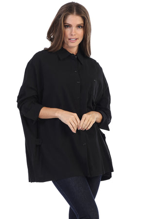 Loose Fit Oversized Fine Gauze Button Down Tunic Fit Shirt - Rose + Canvas®