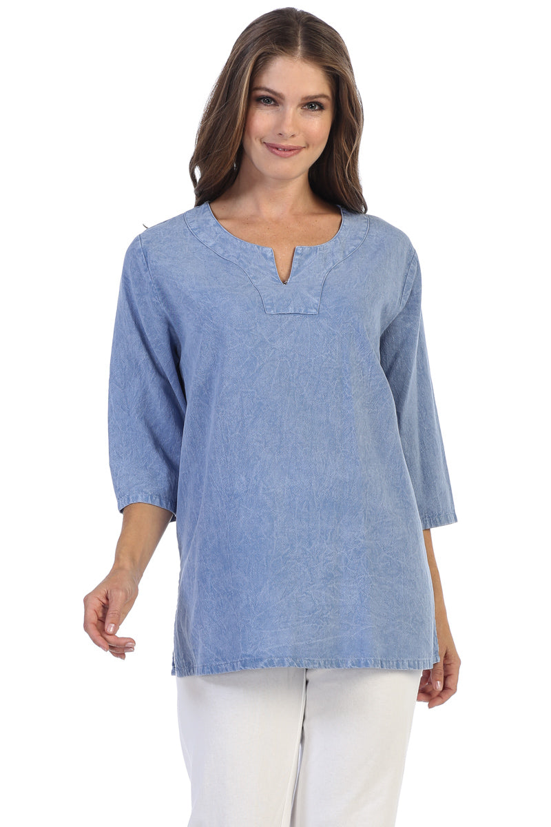 Cotton Mineral Wash Split Neck Tunic Top - Rose + Canvas®