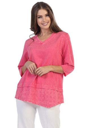 Cotton Layered Basket Woven Mineral Wash Tunic Top