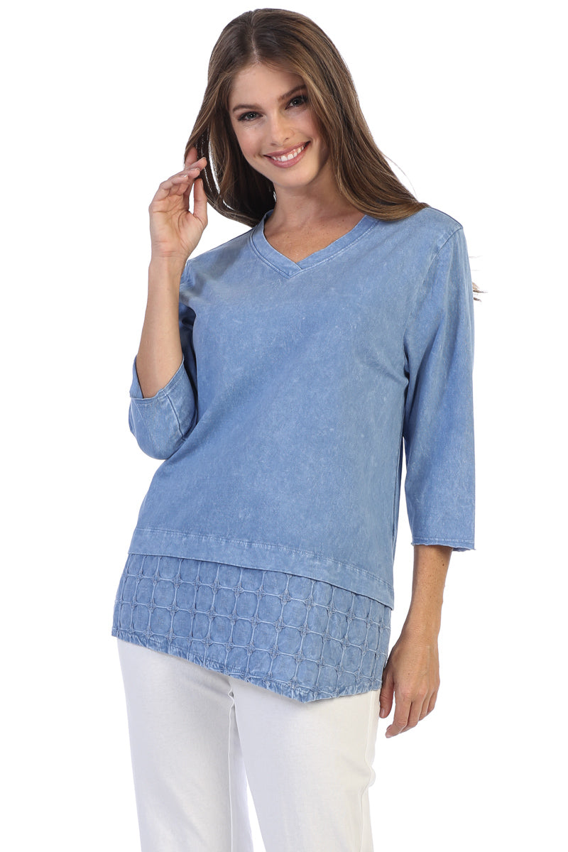 Cotton Layered Basket Woven Mineral Wash Tunic Top - Rose + Canvas®