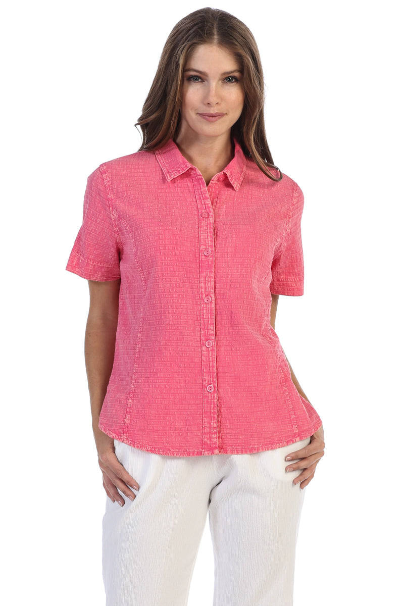 Cotton Seersucker Button-Down Short Sleeve Shirt - Rose + Canvas®