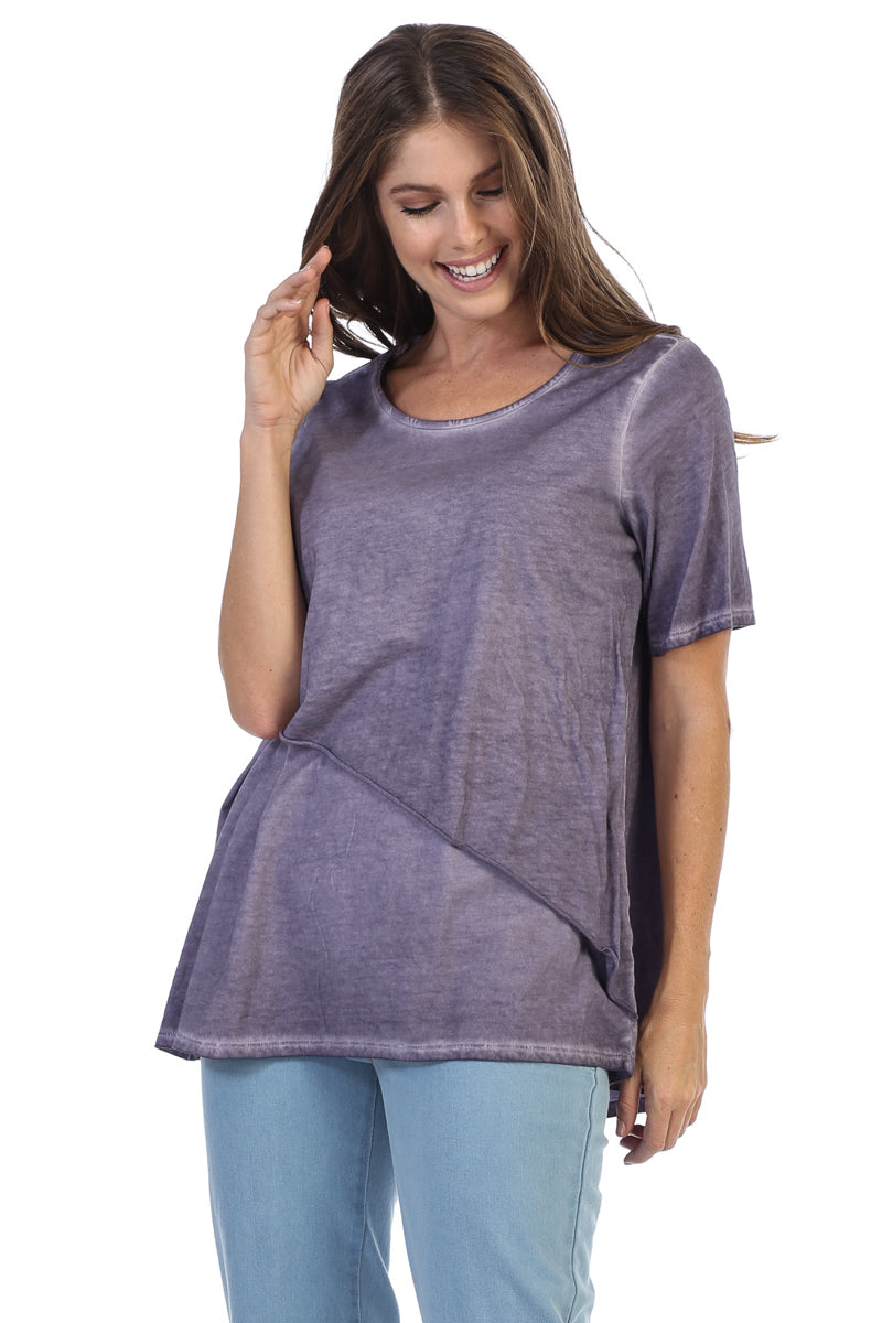 Supima Cotton Short Sleeve Garment Dye Tunic Top