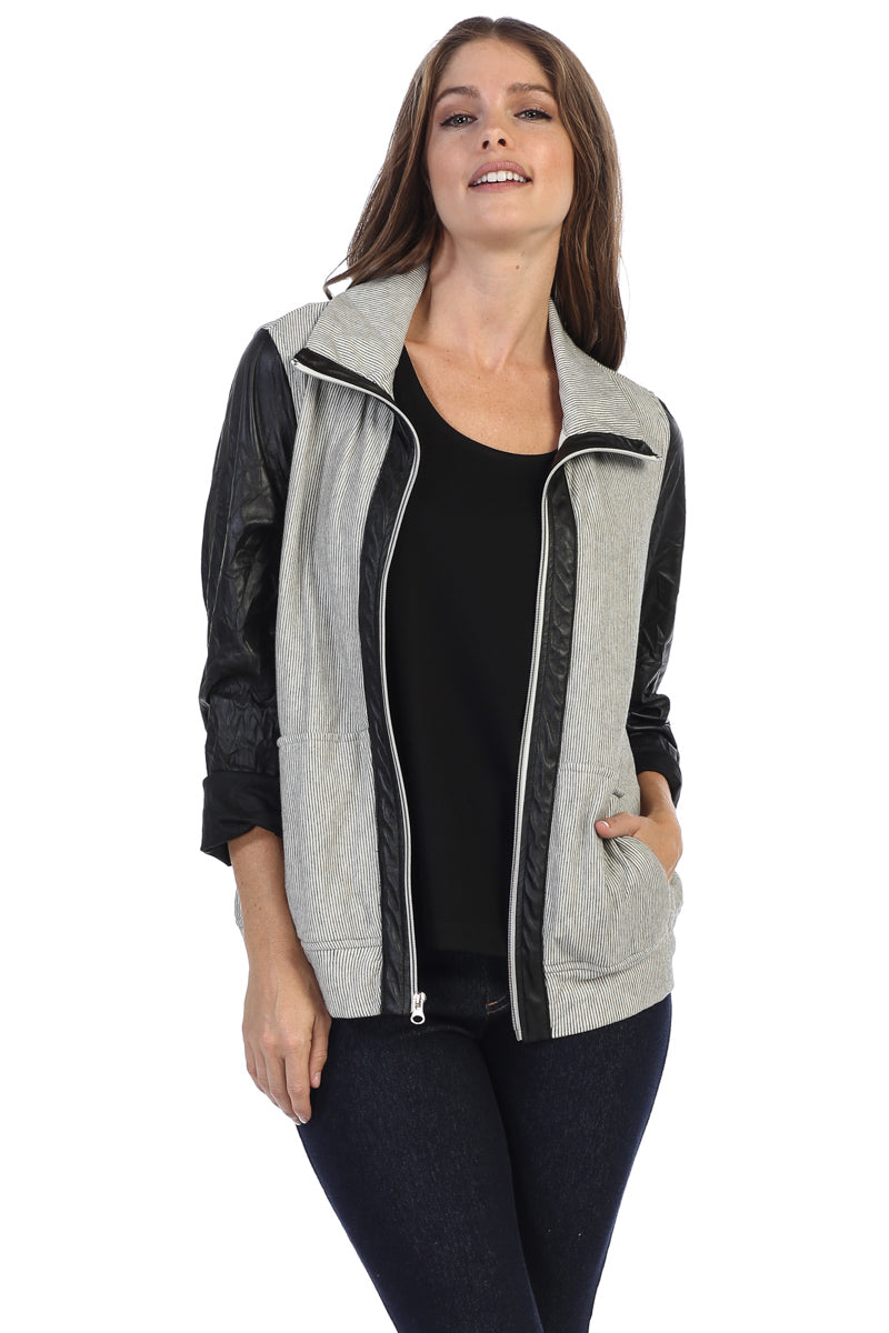 Two Tone Striped Zip Up Jacket