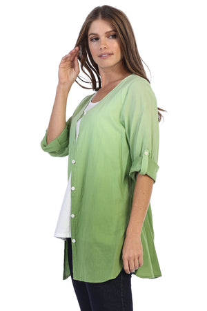 Cotton Voile Roll-Up Sleeve Button-Down Shirt - Rose + Canvas®
